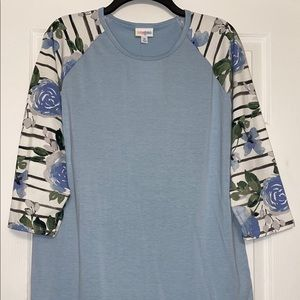 NWT Lularoe XL blue floral stripe Randy tee shirt